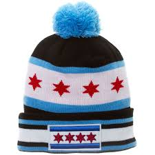 Chicagos Flag Chicago Flag Embroidered Star Knit Hat With Pom Style