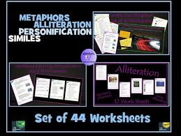 set of 45 worksheets on personification alliteration similes and
