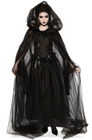 womens black hooded sheer cape witch gothic halloween