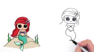 how to draw mermaid ariel cute and easy youtube