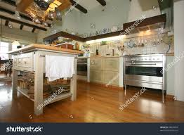 traditional wooden provence style kitchen will stock photo