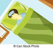 get well soon kid sick kid on bed a vector illustration of a sick kid resting