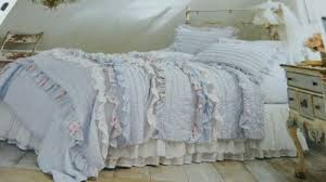 new 2 pc simply shabby chic pintuck ruffle blue floral twin quilt