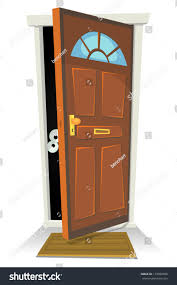 Keyhole Doorway by Something Someone Behind Door Illustration Cartoon Stock Vector