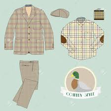 illustration of mens clothing in country style coat pant check