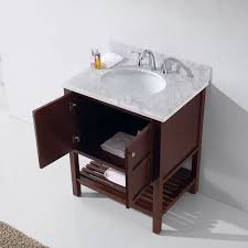 30 winterfell single bathroom vanity in cherry with marble top