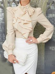 high neck ruffle blouse high neck shirt with ruffle front choies