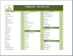 camping necessities checklist template word u0026 excel templates