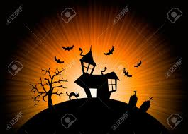 background halloween images terror orange night halloween background with house cat tombs