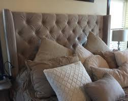 tall tufted king bed wingback upholstered black velvet extra