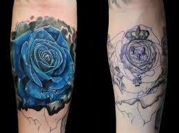 blue rose cover up by jhon gutti tattoos