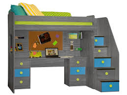 berg utica deluxe high loft bed with desk shelves and 5 stairs