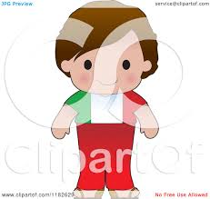 cartoon of a happy patriotic boy wearing italian flag clothing