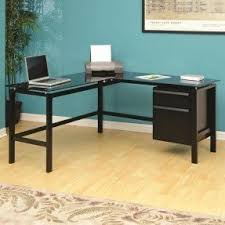 Modern Glass Desk With Drawers L Shaped Glass Desk With Drawers Foter