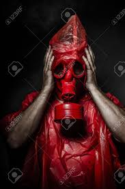halloween gas mask costume military concept man with red gas mask stock photo picture and