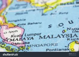 South East Asia Map Malaysia Close On Map Southeast Asia Stock Photo 64025953