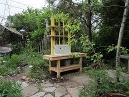montana wildlife gardener repurposed potting bench garden