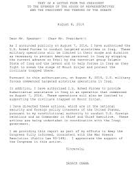 obama u0027s war powers act letter to congress on iraq vox