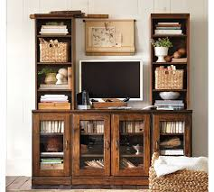 printer u0027s large tv stand with towers tuscan chestnut pottery barn