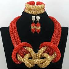 wedding bead necklace images Unique nigeria wedding crystal beads jewelry accessories necklace jpg