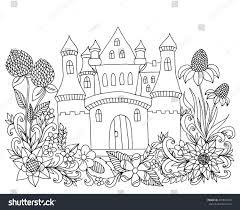 vector illustration zen tangle castle among stock vector 472814239