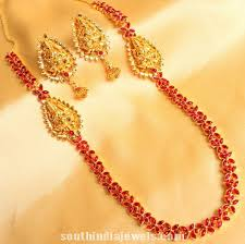 1 gram gold floral ruby necklace with earrings necklace