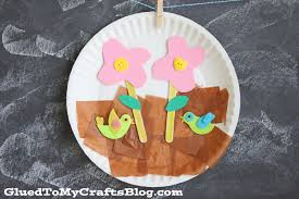 paper plate spring scene kid craft glued to my crafts