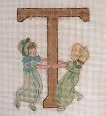 peterson needlepoint canvas letter t alphabet monogram vtg