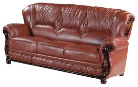 Traditional Sofa Mina Leather Sofa Traditional Sofas By Meridian Furniture