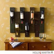 Kitchen Wine Cabinets Black Wooden Board Wine Racks Having Round Black Metal String Wine