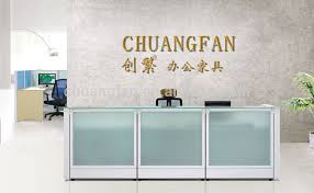Glass Reception Desk Cf 80mm Partition Thickness Modern Aluminum Frame Glass Reception