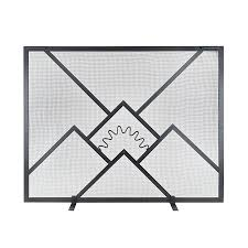 shop achla designs 38 in black iron flat fireplace screen at lowes com