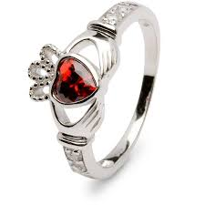 birthstone rings birthstone silver claddagh ring ls sl90dc 1