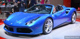 cars ferrari blue frankfurt 2015 ferrari 488 spider makes public debut