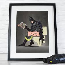 superhero home decor batman poster superhero on the toilet bathroom restroom wall