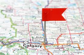 Calgary Map Calgary In Alberta Canada Red Flag Pin On An Old Map Showing