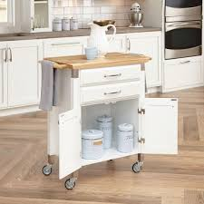 Microwave Cart Home Depot Home Styles Dolly Madison White Kitchen Cart With Natural Wood Top
