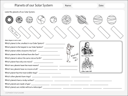 planets of the solar system worksheet theme based learning skills
