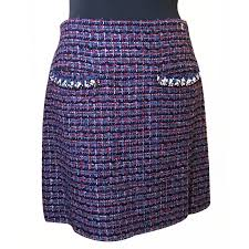 tweed skirt chanel chanel tweed skirt skirts tweed colors ref 16868