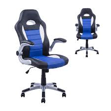 Desk Chair Gaming Pu Leather Racing Office Chair Black Blue White