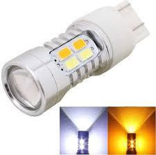 car brake light bulb generic 2pcs t20 10w 700lm yellow white light dual wires 20 led