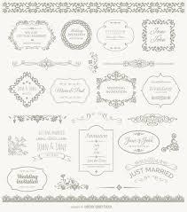 wedding frames badges and ornaments vector