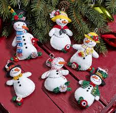 let it snow bucilla felt ornament kit set of 6