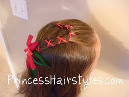 candy cane french braid with ribbon hairstyles for girls