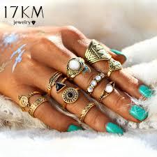 knuckle rings images Buy 17km fashion leaf stone midi ring sets jpg