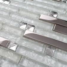 glass tile kitchen backsplashes pictures metal and white black glass crystal mixed marble square mosaic bathroom wall tiles