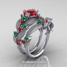 engagement rings and wedding band sets nature classic 14k white gold 1 0 ct ruby emerald leaf and vine