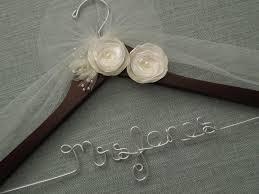 personalized wedding hanger ivory flowers bridal hanger wedding