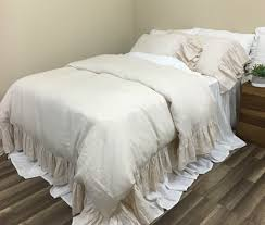 cream linen duvet cover with mermaid long ruffles sumptuous soft
