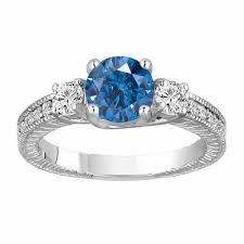 blue diamond wedding rings fancy blue diamond three engagement ring 1 58 carat 14k
